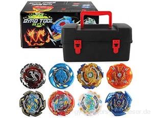 Beyblades,8 Stück Gyro Burst Starter Kampfkreisel Set 4D Fusion Kreisel Kinder Spielzeug Mit Zugschnursender und Zugregelsender