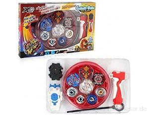SiyaTom Kampfkreisel Set | 4D Fusion Modell Metall Masters Speed Kreisel mit Basis-Arena für Kindertag Ostern Weihnachten Geburtstag Jahr (XD168-1-red)