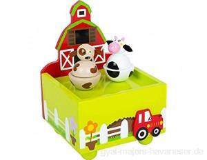Small Foot 11715 Spieluhr Bauernhof aus Holz mit fröhlichen Tiermotiven ab 3 Jahren Toys