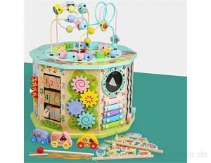 Perlenlabyrinth Holzaktivität Cube Aktivitätszentrum Multifunktions Perlen Maze Spielzeug Geschenk für Kind Kinder Jungen Mädchen für Kinder (Color : Multi-colored Size : One size)