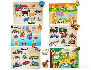 alles-meine.de GmbH 1 Brett _ Steckpuzzle mit Griffen - Tiere / Figuren / Fahrzeuge / Kinder - incl. Name - aus Holz - großes Holzpuzzle / Einlegepuzzle - Griff Legespiel - L..