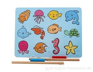 B&Julian® Angelspiel Holz für Kinder Magnet mit 12 Magnetische Tier Holzspielzeug Fische Angeln Kinder-Spielzeug Motorikspielzeug Lernspielzeug ab 1 5 Jahre (Bubble)