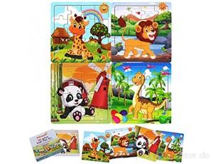 FLORMOON Holzpuzzle für Kinder 2-6 Jahre - Kein Sägemehl kein Verblassen - Tiere im Vorschulalter Lernen Pädagogische Rätsel Spielzeug für Jungen Mädchen (4 Rätsel Giraffe Lion Panda Dinosaurier)