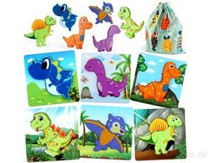 JoyGrow 6 Stück Holzpuzzle für Kinder Dinosaurier Puzzles Holz Spielzeug für Kinder Pädagogisches Spielzeug mit Aufbewahrungstasche Geschenk für Jungen Mädchen