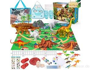 Bastel-Sets für Kinder - 47 Stück Dinosaurier Spielzeug ungiftige Bastelset für Kinder Kreativität DIY 3D Malspielzeug mit Spielmatte und Schürze Dinosaurier-Mal-Kit Geschenke für Jungen Mädchen