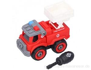 Zerlegen LKW Spielzeug DIY Montage Hub LKW Spielzeug Set Bildungsbau Gebäude Fahrzeug Spielzeug für 3 4 5 6 Jahre alte Jungen Kinder Mädchen(rot)
