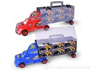 6-in-1-Druckguss-Spielzeug-Set mit Spielmatte 6 Bauautos und Kran 10 Straßenschilder 2 Skateboards und 1 Pop-Up-Brett Autos Spielzeug Geschenk für Kinder