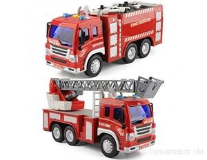 GizmoVine 2 Stücke Auto Spielzeug für 2 Jahre Alten Jungen Feuerwehrauto Mit Lichtern und Tönen Früh Bildung Auto Spielzeug Trägheit Fahrzeuge Für Kinder und Kleinkinder