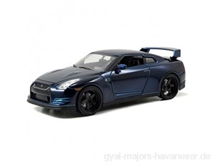 Jada Brian's 2009 Nissan GT-R Blue Toys Fast & Furious 97036 - 1/24 Scale Diecast Model Toy Car by