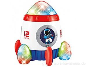 Devan Raketenschiff Spielzeug für Kinder Bump and Go Space Spielzeug für Jungen und Mädchen mit blinkendem Licht und Musik.