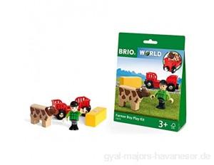 BRIO World 33879 - Spielpäckchen Bauer mit Kuh Spielset Holzeisenbahn