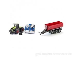 siku Claas Xerion 5000 TRAC VC Traktor Grün Metall/Kunststoff 1:32 Ferngesteuert & 3-Achs-Hakenliftfahrgestell mit Mulde 1:32 Fernsteuerbar Für Siku Control Fahrzeuge mit Anhängerkupplung Rot