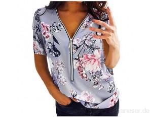 VICKY-HOHO Damen Damen Plus Size Print Reißverschluss Kurzarm V-Ausschnitt Pullover Tops Shirt Kragen Printed Zip Short Sleeve Top