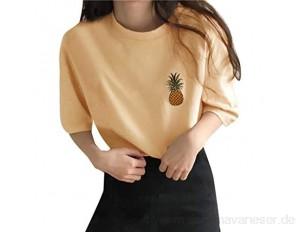 VICKY-HOHO Frauen lässig Kurzarm Ananas Stickerei O-Ausschnitt Loose Tops T-Shirt koreanische Stil japanischen und koreanischen Hemd Frauen lose bestickte Ananas Plus Size Top