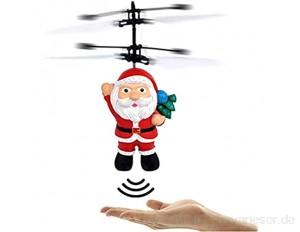 Zumint Weihnachten Weihnachtsmann Fliegende Ball Weihnachtsmann Fliegendes Spielzeug Kinder Flugzeug Infrarot induktion Sensor Hubschrauber Spielzeug mit bunter LED Leuchtung