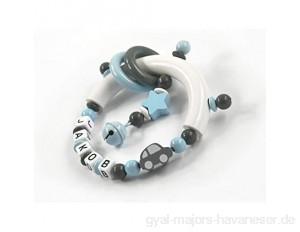 Greifling mit Namen Junge Auto Stern - Baby Geschenk Greifring zur Geburt Taufe personalisiert dunkelgrau grau hellblau weiß (Greifring)